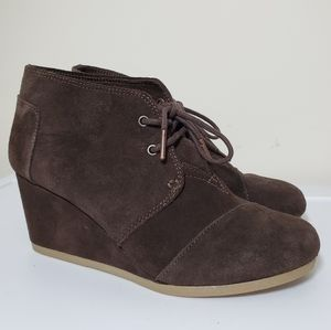 Toms Desert Wedge Bootie Chocolate Brown Suede